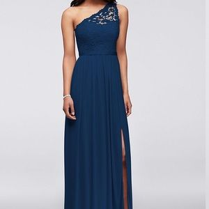 NWT Long Marine One Shoulder Lace Bridesmaid Dress